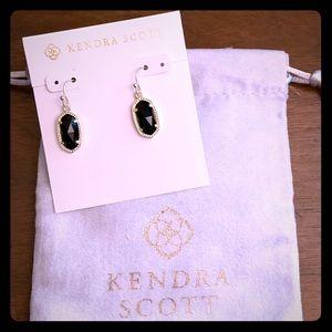 New Kendra Scott Gold Lee in Black Opaque Glass
